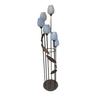 Five Lights Brass and Teak Floor Lamp on the Style of Stilnovo. For Sale