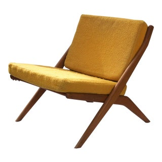 Mid Century Folke A. Ohlsson for Dux Walnut Scissor Chair For Sale