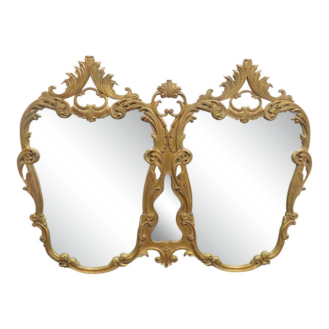 Italian Rococo Carved Gold Gilt Overmantle Mirror For Sale