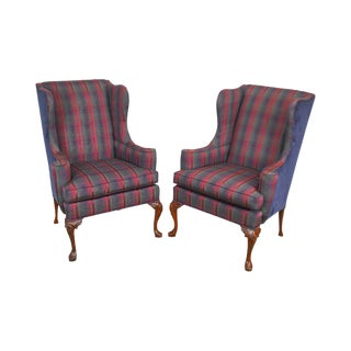 Hickory Chair Mahogany Frame Pair of Queen Anne Wing Chairs For Sale