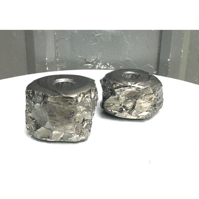 1960s Black Geode Candlesticks - a Pair For Sale - Image 4 of 4