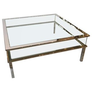 Mid Century Museum Top Chrome Brass and Glass Coffee Table For Sale