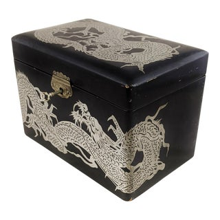 Antique Asian Chinese Ebony Lacquerd & Metal Dragon Inlaid Tea Caddy Box For Sale