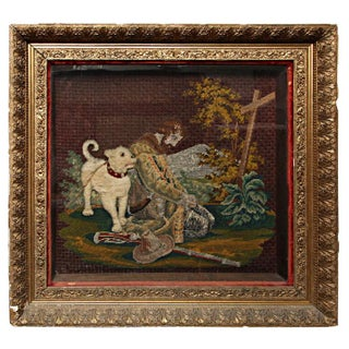 Early American Framed Man & Dog Needlework Picture For Sale