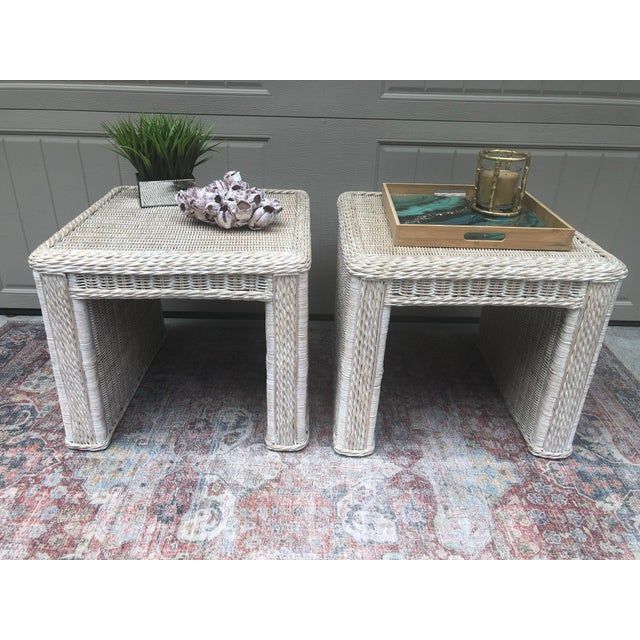 Off-white Vintage Wicker End Tables - a Pair For Sale - Image 8 of 11