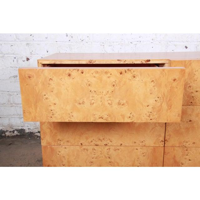 Milo Baughman Burled Olive Wood Long Dresser or Credenza For Sale In South Bend - Image 6 of 12