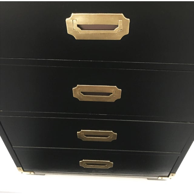 Metal Pair of Black Lacquered Campaign Chests of Drawers For Sale - Image 7 of 8