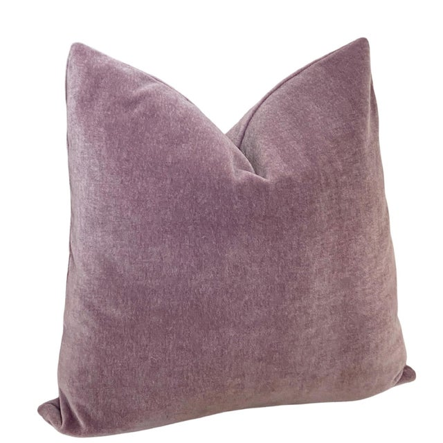 """Contemporary Amethyst Mohair 18"""" Pillows - a Pair For Sale - Image 3 of 6"""