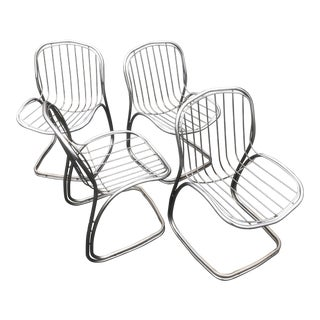 Gaston Ronaldo Style Chrome Cantilever Chairs - Set of 4 For Sale