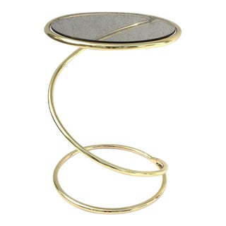 Brass and Bronze Glass Spiral Occasional Tables by Pace Collection - A Pair