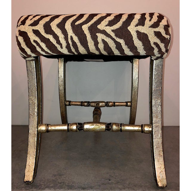 Hollywood Regency Silver Gilt Zebra Benches - a Pair For Sale - Image 9 of 13