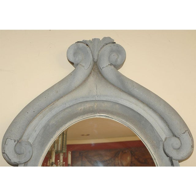 French Large 19th Century Zinc Window Mirror For Sale - Image 3 of 5