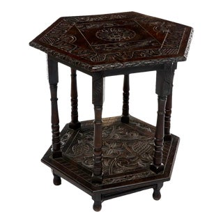 Antique Jacobean Carved Center Table or Oversized Side Table For Sale