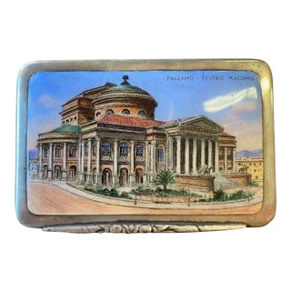 Palermo Opera House Silver & Enamel Box Circa 1900 For Sale