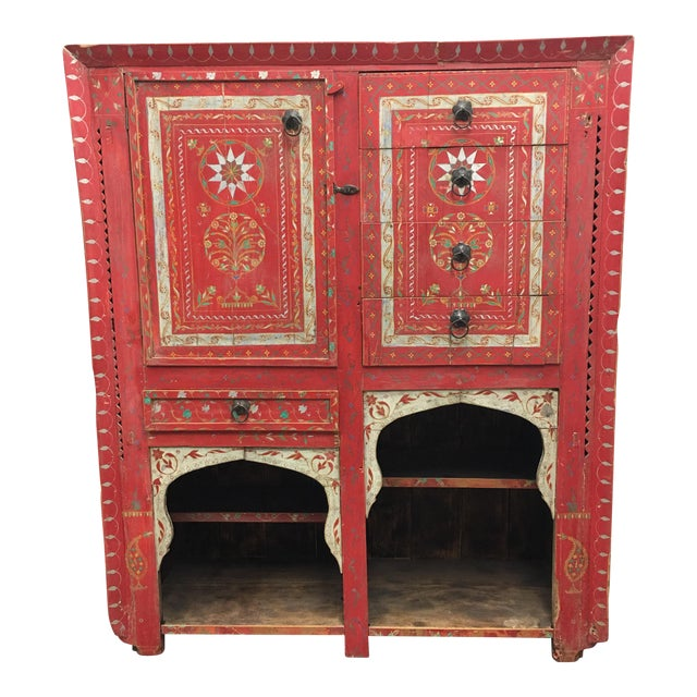 Vintage Hand Painted Moroccan Armoire For Sale