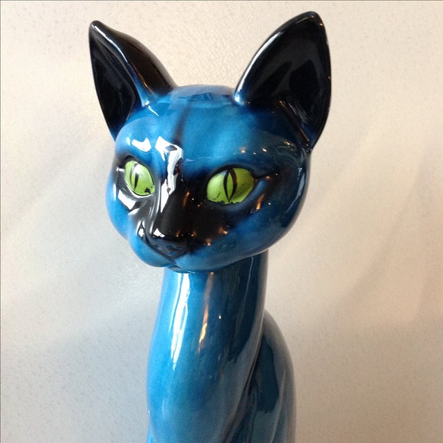 Mid-Century Modern Blue Ceramic Pottery Cat For Sale - Image 5 of 11