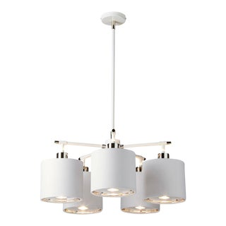 Balance White/Polished Nickel 5lt Chandelier For Sale