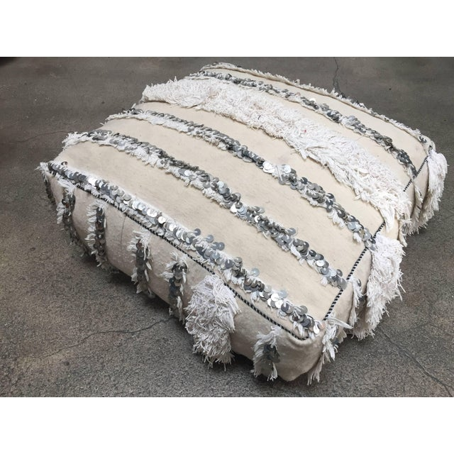 Moroccan Wedding Floor Pillow Pouf with Silver Sequins and Long Fringes For Sale - Image 4 of 10