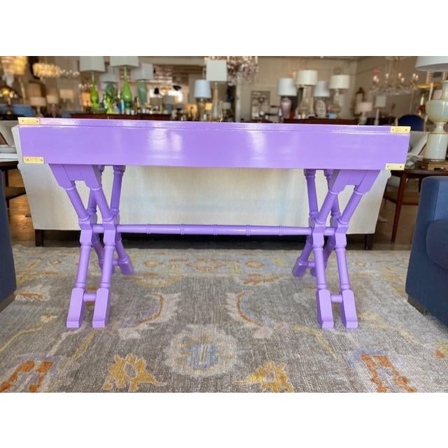 Wood Vintage Campaign Purple Lacquer Writing Desk For Sale - Image 7 of 9