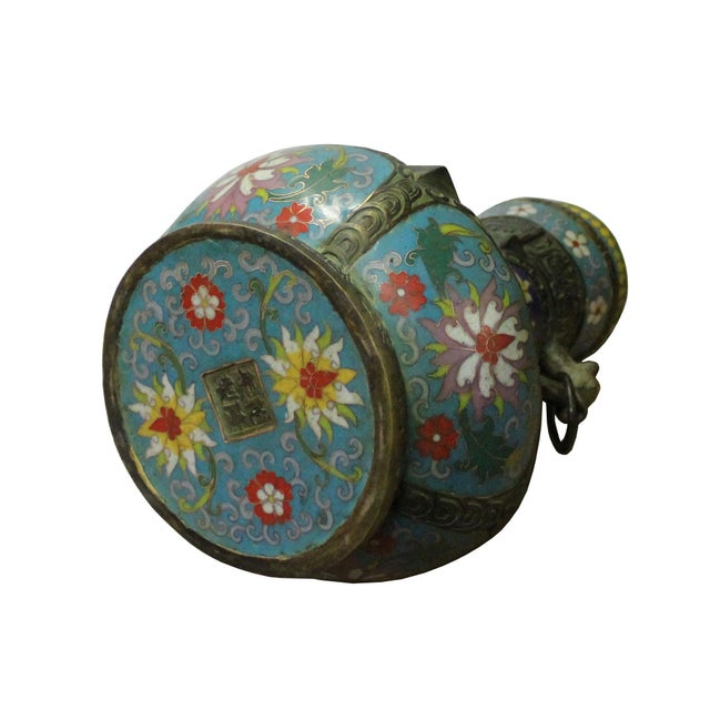2010s Chinese Metal Blue Enamel Cloisonne Flowers Theme Vase Display For Sale - Image 5 of 7