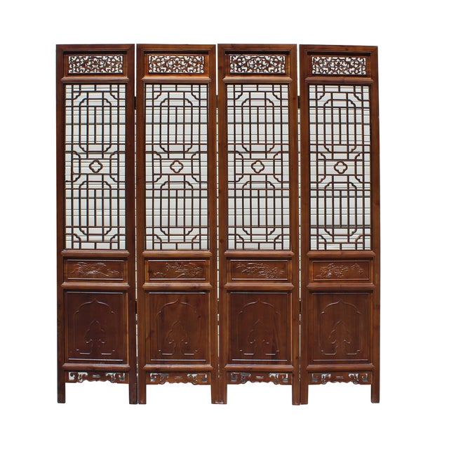 Chinese Brown Geometric Pattern Theme Wood Panel Floor Screen For Sale - Image 4 of 8