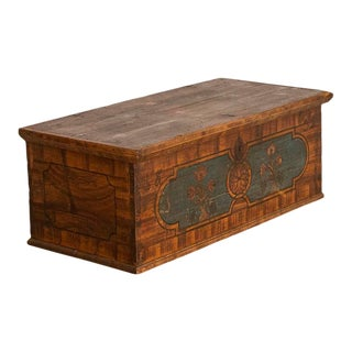 1832 Antique Original Painted Flat Top Trunk For Sale