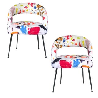 Bauhaus Abstract Bold Colorful Open Back Upholstered Dining Chairs in Pierre Frey Arty Fabric a Pair Set of 2 For Sale