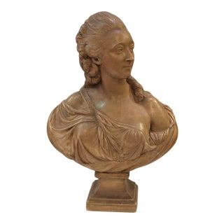 1850s Vintage Madame Du Barry Terracotta Bust For Sale