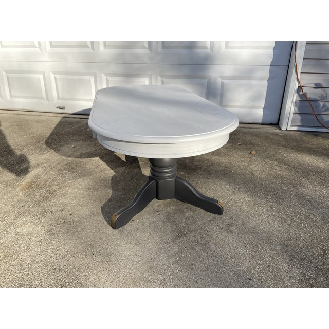 Vintage Rustic Painted Oval Coffee Table For Sale - Image 4 of 12