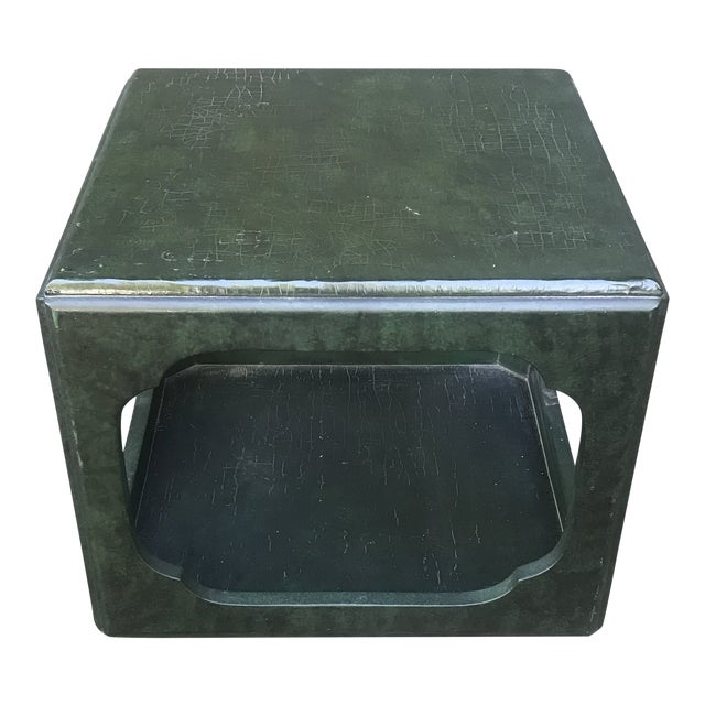 Chinoiserie Green Painted Cube Accent Table by Baker Furniture For Sale