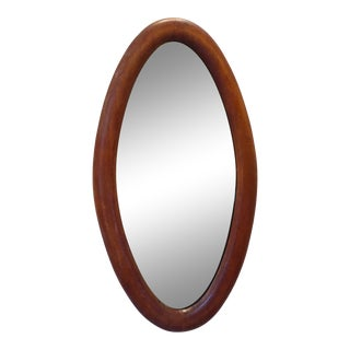 Vintage American Folk Oval Wooden Mirror For Sale