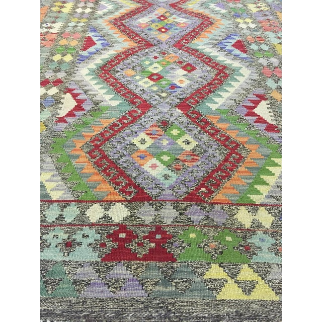 """Hand Knotted Traditional Design Uzbak Wool Kilim Rug-3'11"""" X 6'0"""" For Sale - Image 4 of 8"""