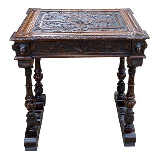 Antique English Walnut Sewing End Table/Game Table For Sale