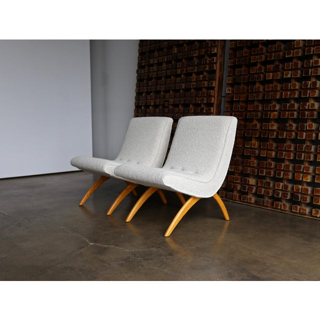 Fabric Milo Baughman Scoop Chairs for Thayer Coggin Circa 1955 - a Pair For Sale - Image 7 of 13