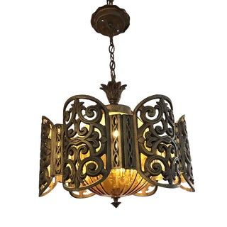 1960s Arabian Glass and Gilded Finish Chandelier For Sale