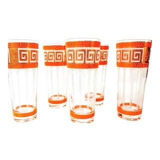 Culver Ltd Neoclassical Greek Key Orange Highball Glasses - Set of 5 For Sale