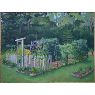 """""""The Garden, Late Summer"""" Contemporary Plein Air Painting by Stephen Remick, Framed For Sale"""