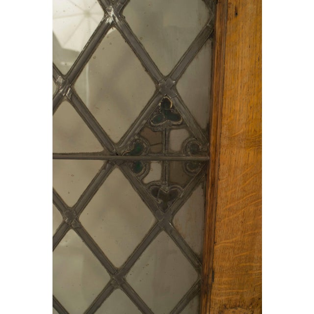 Large Pair of 19th C. American Leaded Glass Golden Oak Doors For Sale - Image 4 of 9