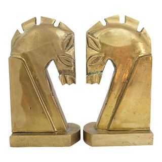 Mid Mod Brass Horse Bookends For Sale