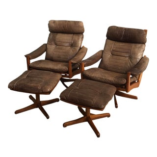Mid-Century Lied Mobler Soda Galvano Teak Recliner Lounge Chairs & Ottomans - Set of 4