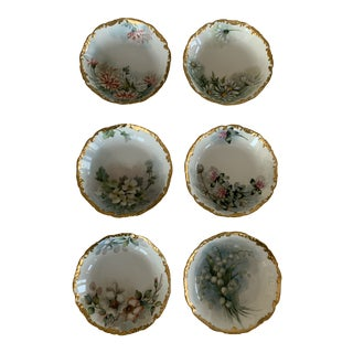 Antique 1900s Tresmanes and Vogt Limoges Berry Dishes - Set of 6 For Sale