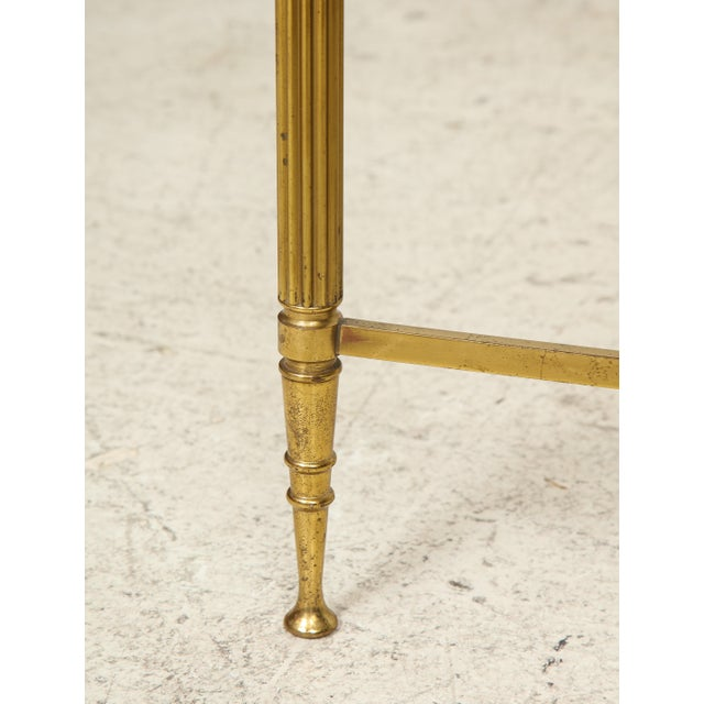 Rectangular Brass Coffee/Cocktail Table With Smoked Glass on Stretcher Base For Sale - Image 9 of 11