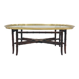 Vintage Brass & Glass Tray Top Coffee Table For Sale