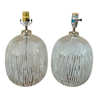 Etched Glass Ball Lamps - a Pair For Sale