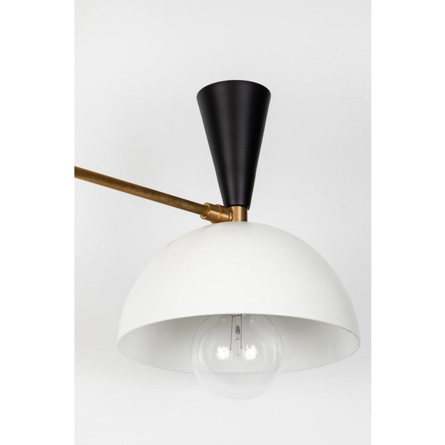 Large Three-Cone 'Lola Ii' Black and White Chandelier For Sale - Image 9 of 13
