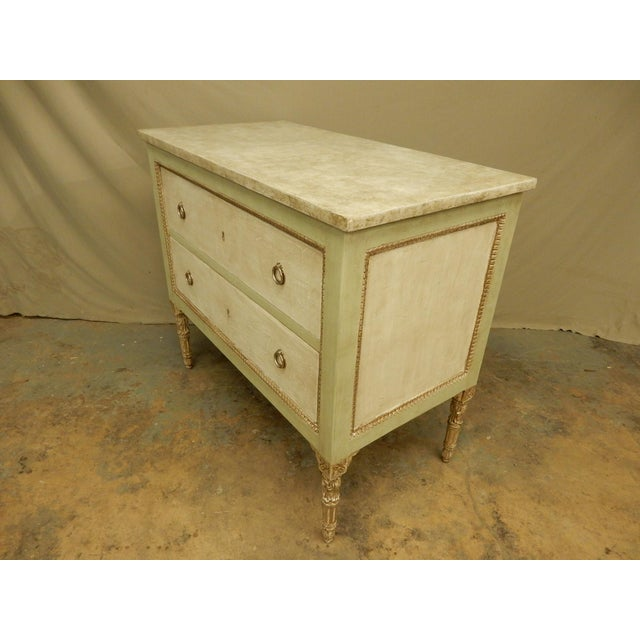 French Italian Louis XVI Style Painted Two Drawer Commode For Sale - Image 3 of 8