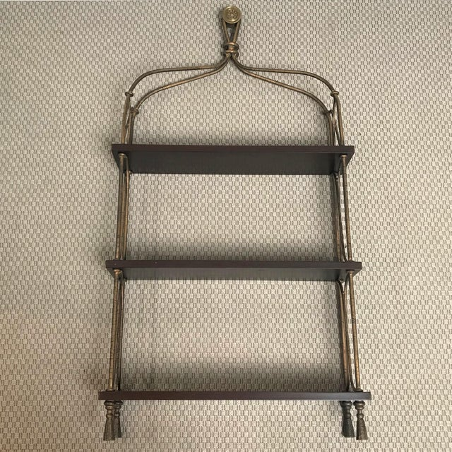 Late 20th Century Vintage Modernist Gilt Metal & Mahogany Hanging Wall Shelf For Sale - Image 11 of 13