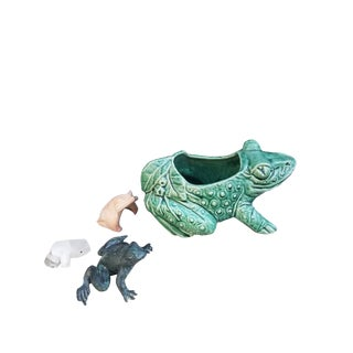 Vintage McCoy Green Pottery Frog and Friends Collection - Set of 4 For Sale