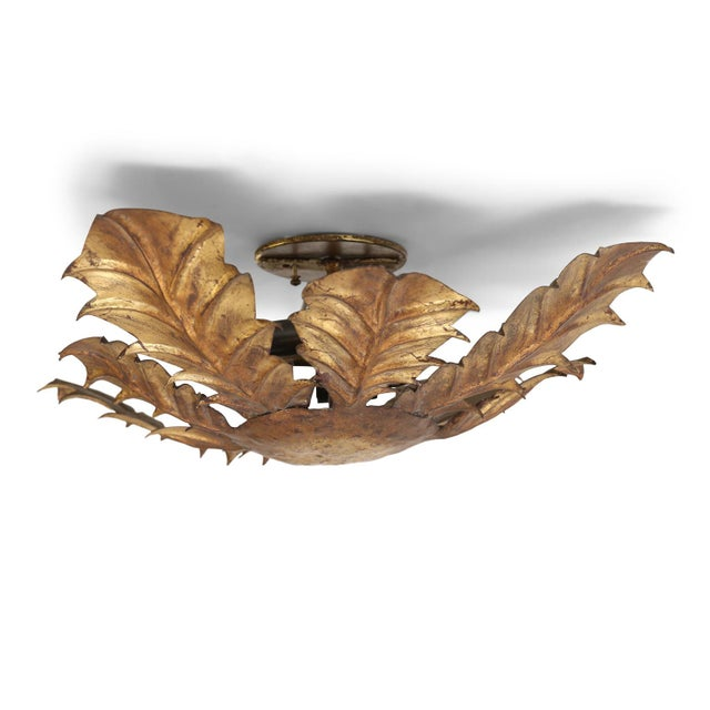 Gilt tole acanthus flush mount fixture for your ceiling or wall. This vintage Spanish light dates to about 1930-1960...