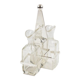 Art Deco Silver Plate and Crystal Oil and Vinegar Cruet Table Set For Sale